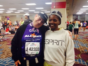 Chuck, my pace group leader from my half marathon training and me. Not sure what I'm looking at, but oh well